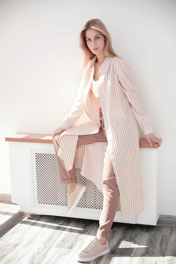 s3972 Платье из хлопка в персиковую полоску
