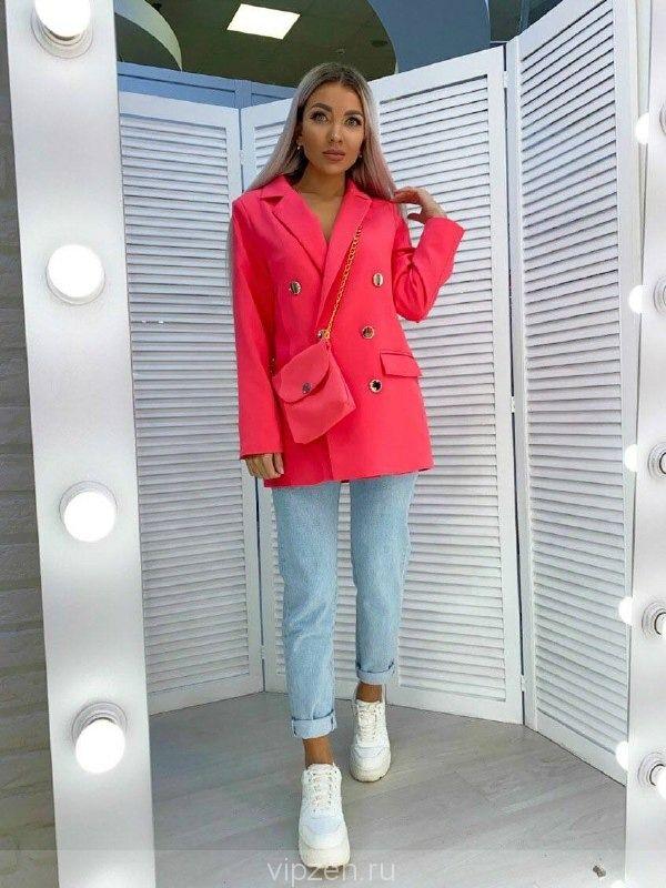 Шикарный пиджак прямого кроя с сумочкой в комплекте