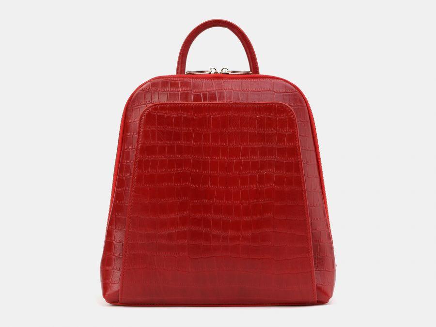 """Рюкзак из натуральной кожи Alexander-TS """"R0023 Red Croco"""""""