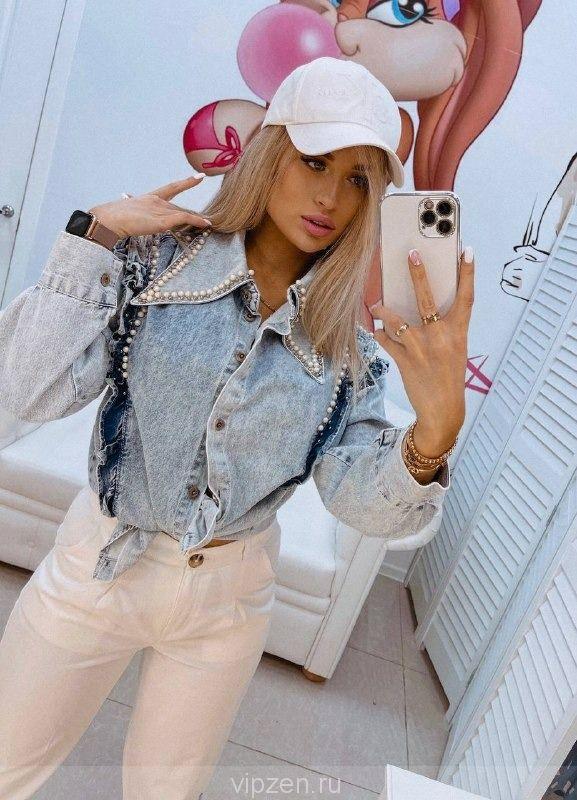 Шикарная джинсовая рубашка с элементами ручной работы