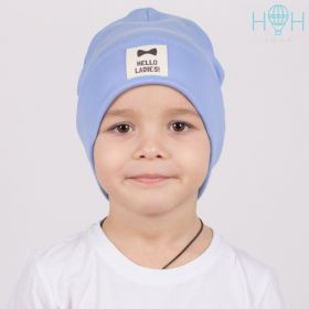 """ШВ21-18070447 Двухслойная шапка с подворотом и нашивкой """"Hello ladies"""", голубой"""