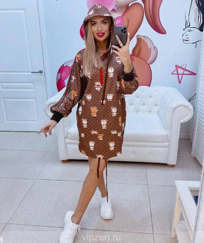 Нереальная новинка платье GUCC1 с капюшоном в люкс качестве