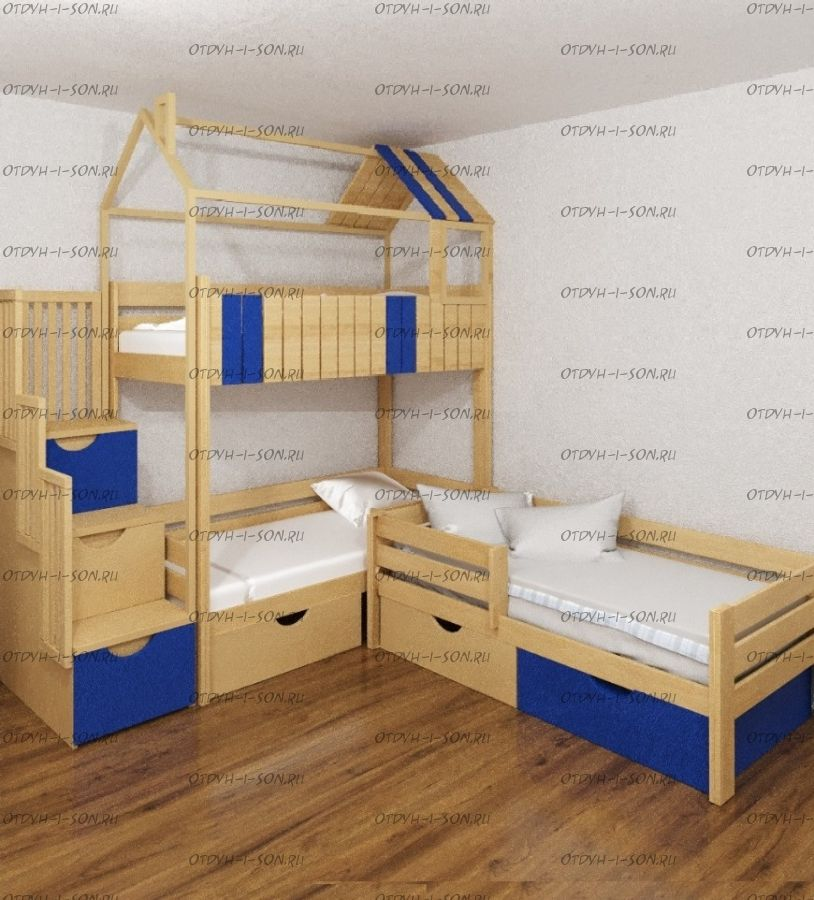 Кровать трехъярусная домик угловой Standard №25