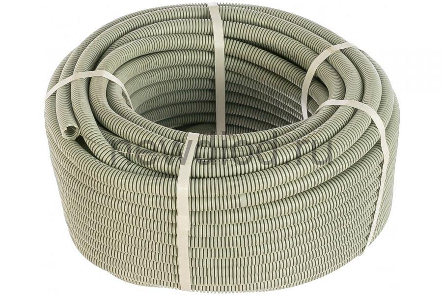 Труба гофрированная ПВХ легкая 350 Н серая с/з д20 (50м/уп) Промрукав