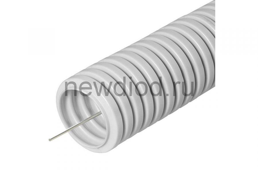 Труба гофрированная ПВХ легкая 350 Н серая с/з д20 (25м/уп) Промрукав