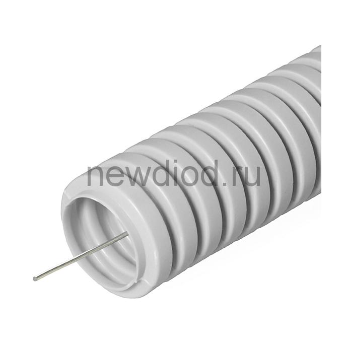 Труба гофрированная ПВХ легкая 350 Н серая с/з д20 (10м/уп) Промрукав