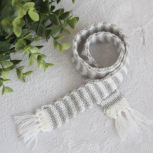 Кукольный аксессуар - Шарф полосатый бело-серый
