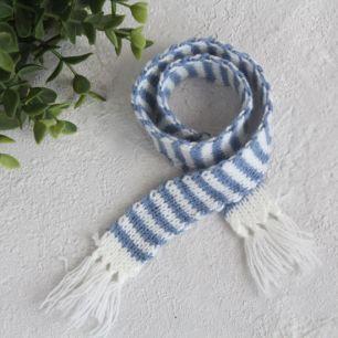 Кукольный аксессуар - Шарф полосатый сине-белый