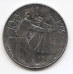 Борьба с наркотиками 100 лир (Регулярный выпуск)  Сан-Марино 1985