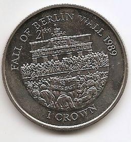 10 лет падения берлинской стены 1 крона Остров Мэн 2000