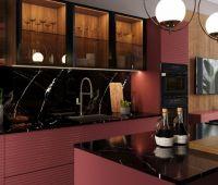 Кухня Onda розовая с витринами