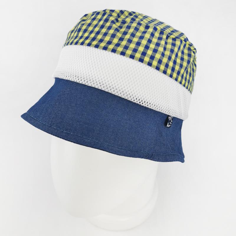 лм1070-15 Панама текстильная с сеткой Клетка джинс