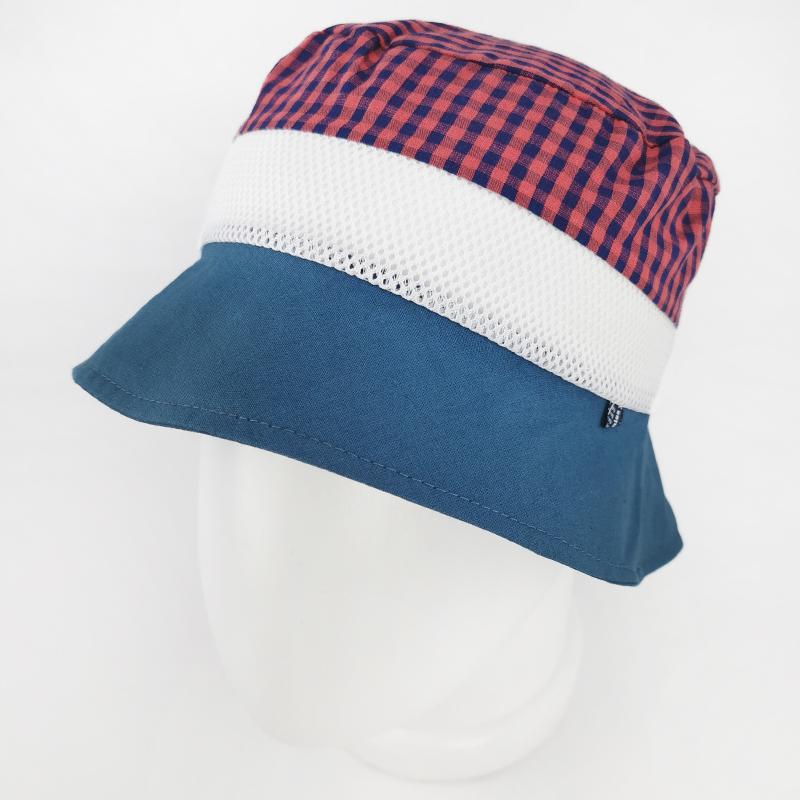 лм1070-52 Панама текстильная с сеткой Клетка сизая