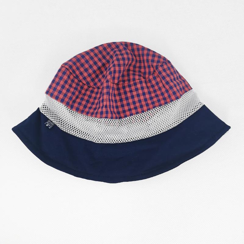 лм1070-58 Панама текстильная с сеткой Клетка темно-синяя