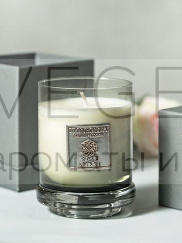 Свеча 300гр Роза и Амбра StoneGlow Металлическая