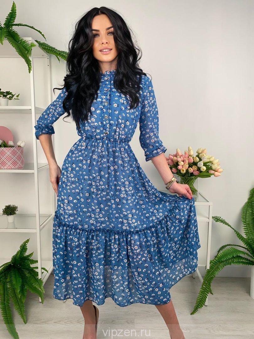 Шифоновое платье с поясом