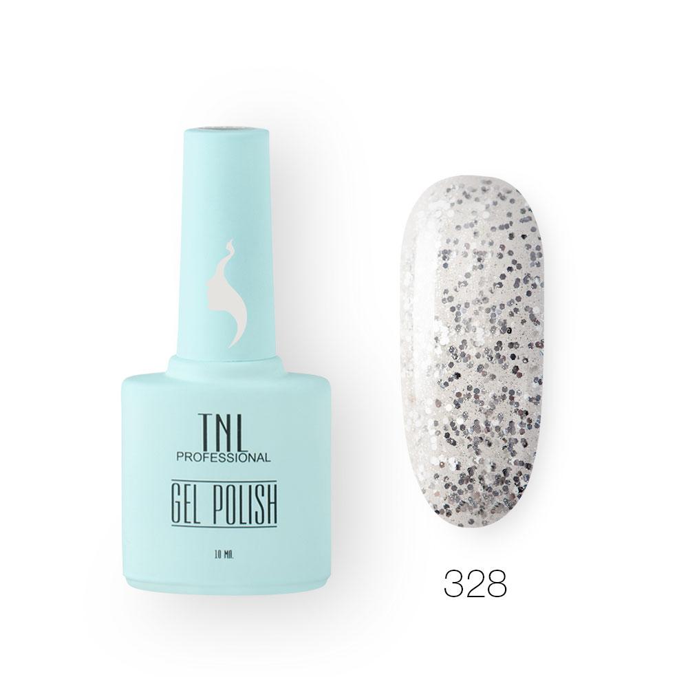 Гель-лак TNL 8 Чувств №328 - серебряный блеск (10 мл.)