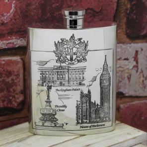 Фляжка из британского пьютера- Старый Лондон -  London Scenes , English Pewter.