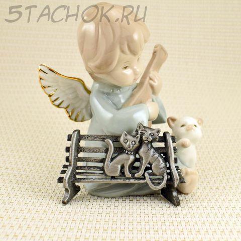 "Брошь ""Кошечка и котенок на скамейке"" цвет олова (AJC США)"