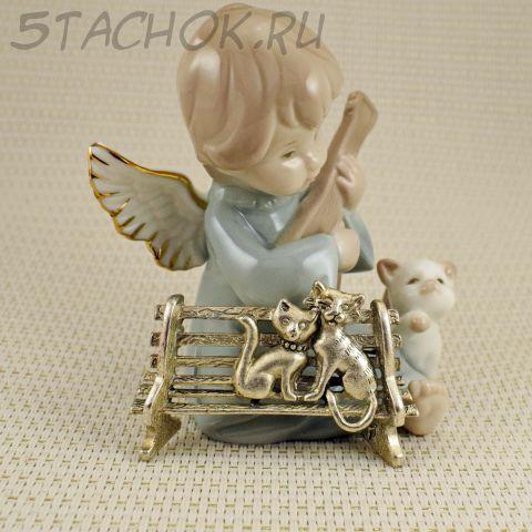 """Брошь """"Кошечка и котенок на скамейке"""" цвет черненого серебра (AJC США)"""