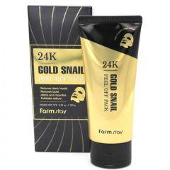 771576 FarmStay Маска-пленка с золотом и муцином улитки 24K Gold Snail Peel Off Pack