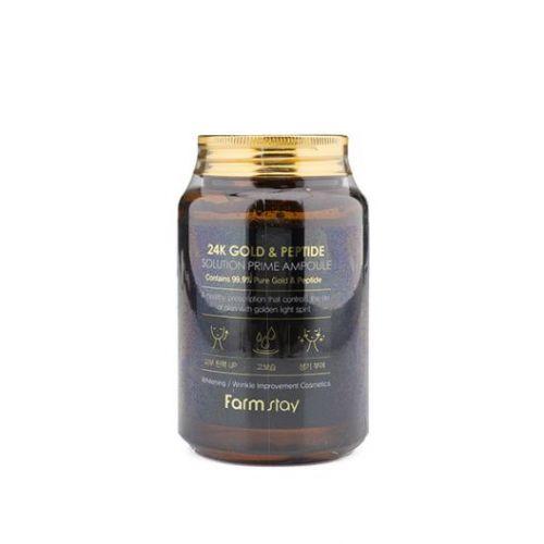 776691 FarmStay Многофункциональная ампульная сыворотка с золотом и пептидами 24K Gold & Peptide Solution Prime Ampoule