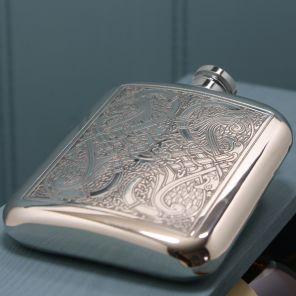 Фляжка из британского пьютера-  Кельтские Птицы ,Celtic Knot , фирма English Pewter. 180 мл.