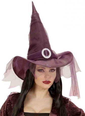 Колпак Ведьмы Фиолетовый с вуалью