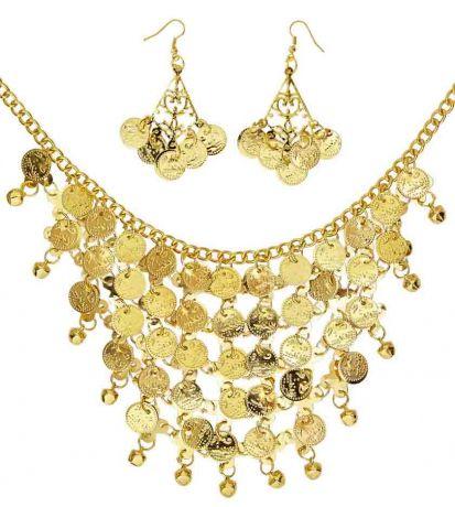 Золотые монеты Серьги и Ожерелье