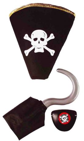 Набор пирата - шляпа, крюк, повязка