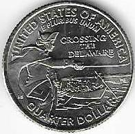Генерал Джордж Вашингтон Переправа через Дэлавер  25 центов США 2021 Двор на выбор