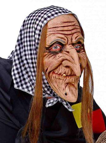 Маска Баба Яга в пестром платке