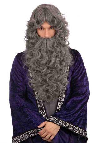 Парик Волшебника с бородой кудрявый
