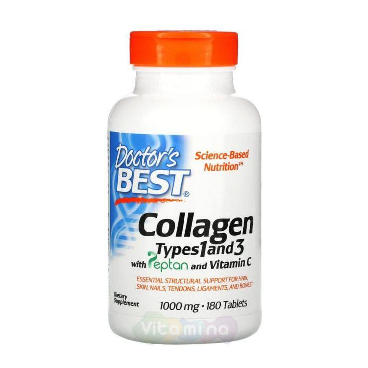 Doctor's Best Коллаген типа 1 и 3 с Peptan и витамином C 1000 мг, 180 таблеток