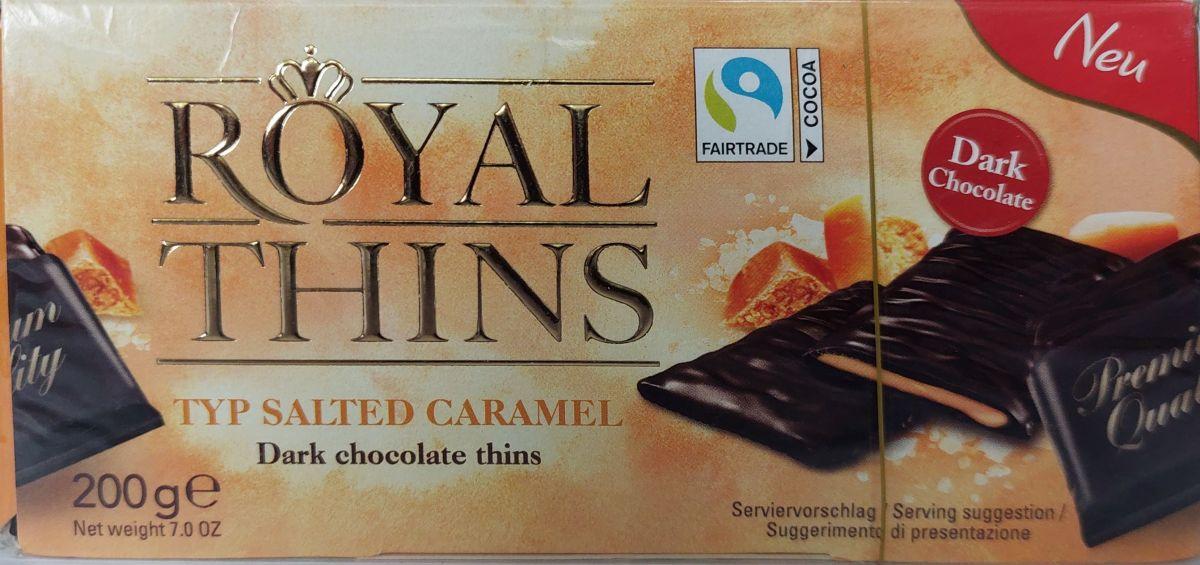 Шоколадные пластины Royal Thins (соленая карамель) 200г