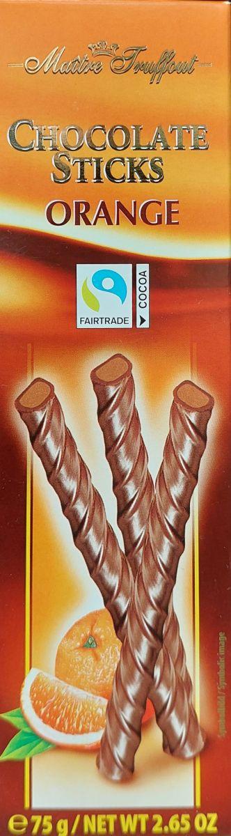 Шоколадные палочки Maitre Truffout (апельсин) 75г