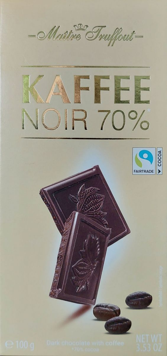 Шоколад Maitre Truffout Темный шоколад 70% (кофе) 100г