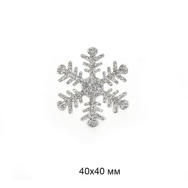 фото Термо-аппликация Снежинка в глиттере 4 мм х 4 мм TBY.S71.01