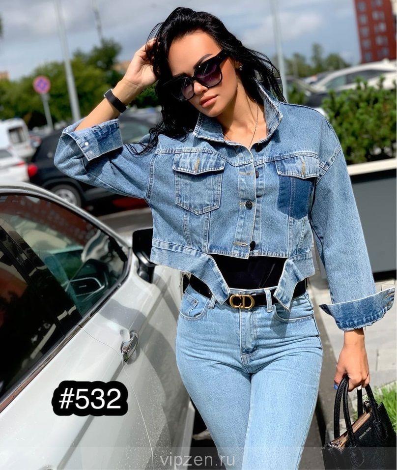 Укорочённая моделька джинсовой курточки