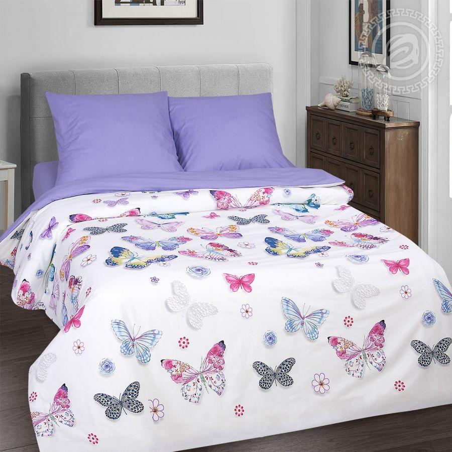 «Батерфляй» (DE LUXE) постельное белье Поплин 2-х спальный с евро