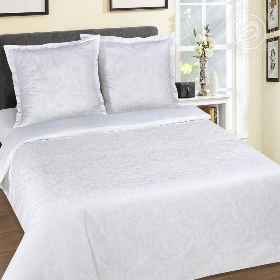 """«Византия (Белый)» (DE LUXE """"Радуга"""") постельное белье Поплин 1.5 спальный"""