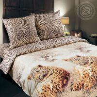 «Леопард» (DE LUXE) постельное белье Поплин 2-х спальный с евро