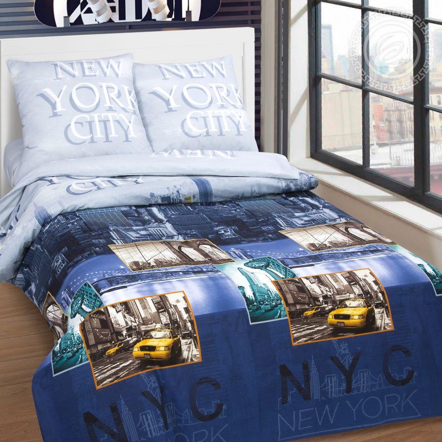 «Нью-Йорк» (DE LUXE) постельное белье Поплин Семейный