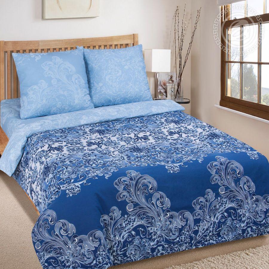 «Синий узор» (DE LUXE) постельное белье Поплин Семейный