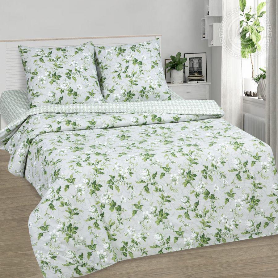 «Белый сад» (DE LUXE с простынью на резинке) постельное белье Поплин 1.5 спальный