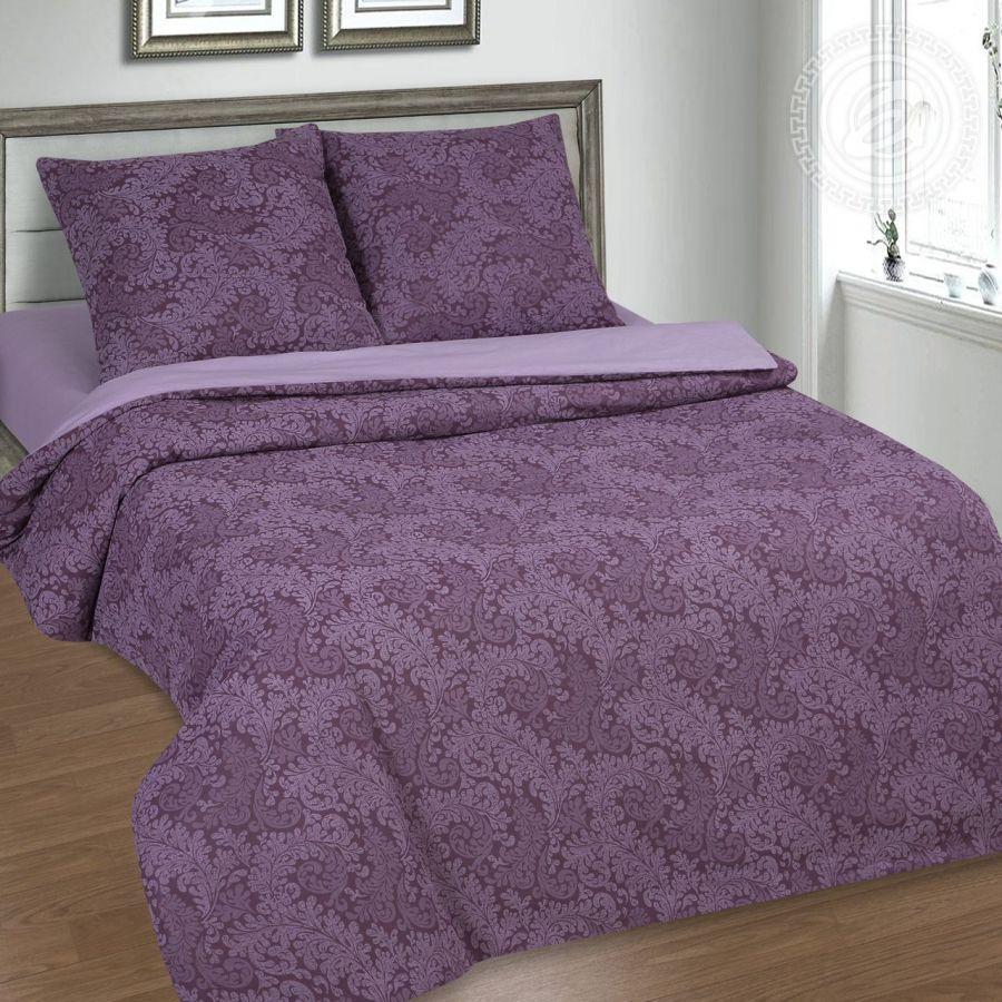 «Вирджиния (фиолетовый)» (DE LUXE с простынью на резинке) постельное белье Поплин 1.5 спальный