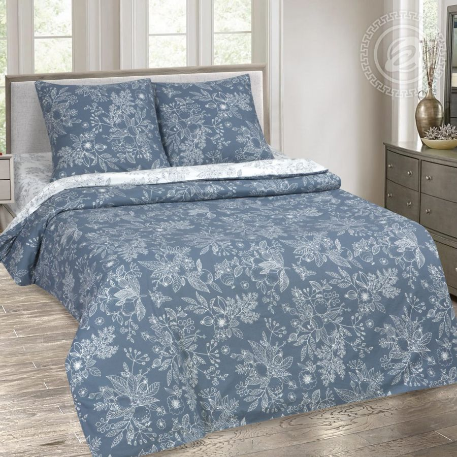 «Деметра» (DE LUXE с простынью на резинке) постельное белье Поплин 1.5 спальный