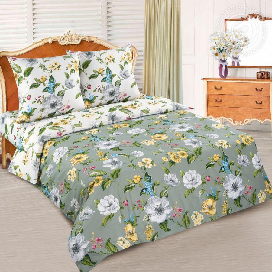 «Жаклин» (DE LUXE с простынью на резинке) постельное белье Поплин 1.5 спальный