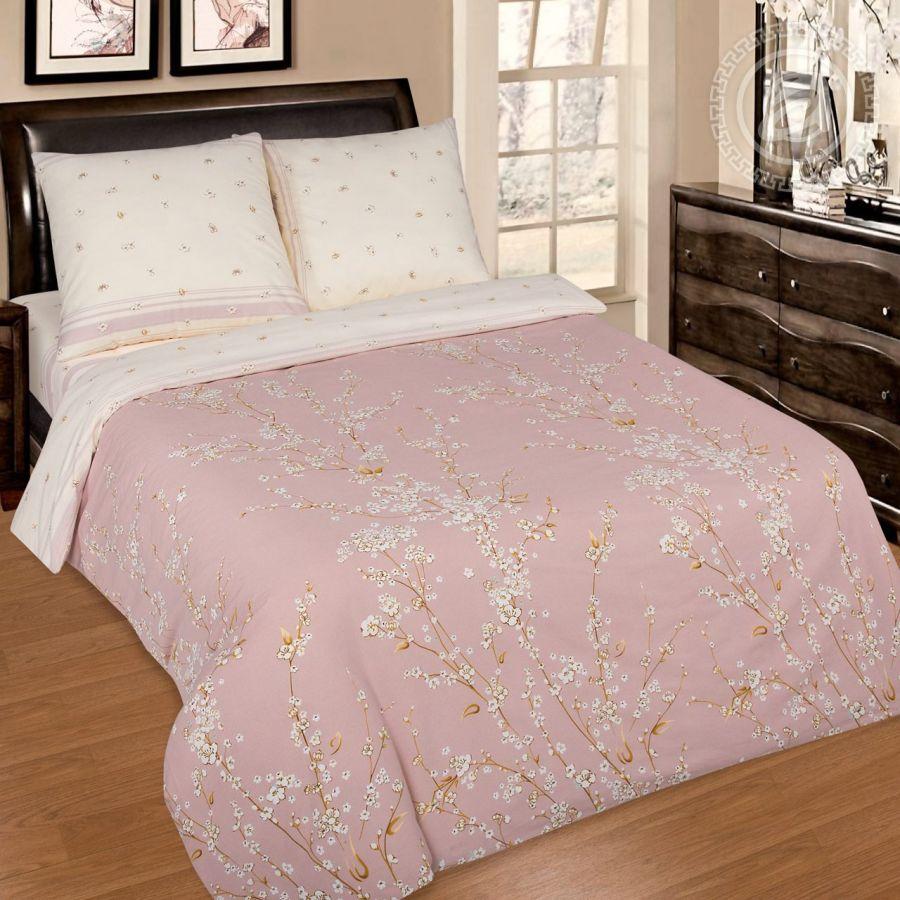 «Сакура» (DE LUXE с простынью на резинке) постельное белье Поплин Евро