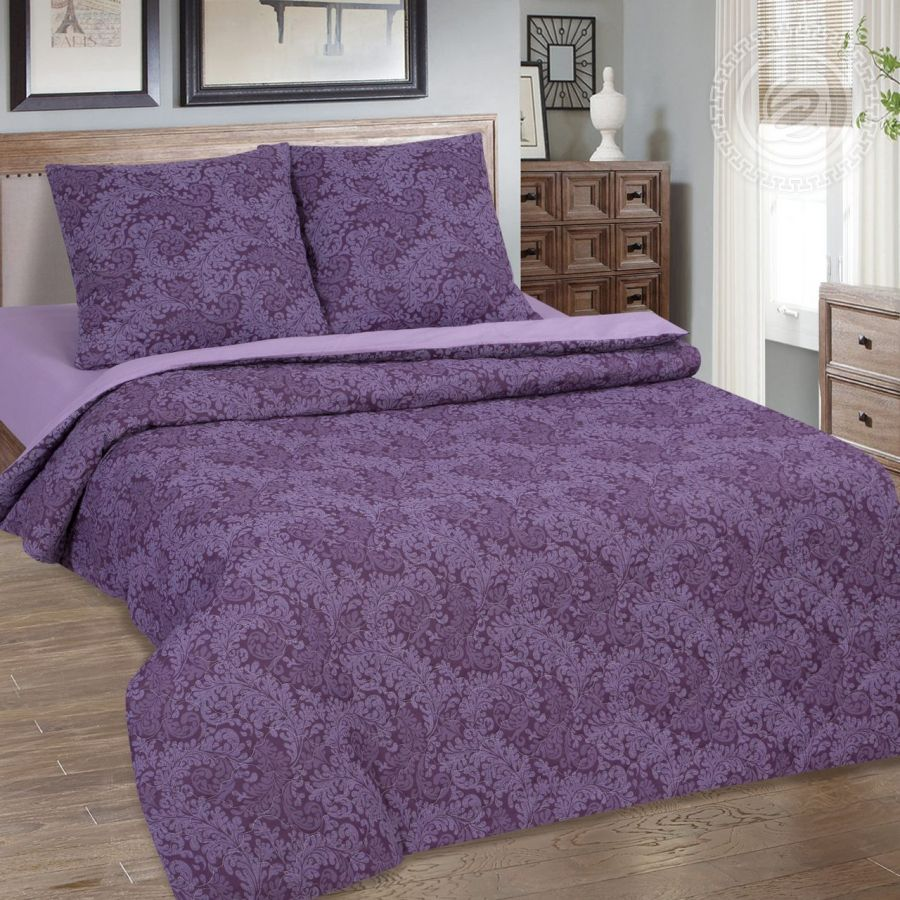 «Вирджиния (фиолетовый)» (Зима - лето) постельное белье Поплин 2-х спальный